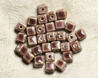 100pc - ceramic porcelain beads 9-10mm Brown purple pink Cubes