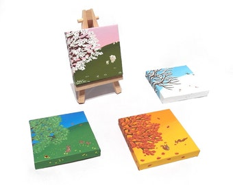 Change With the Seasons original art - set of 4 seasonal landscape paintings on mini canvases with easel - spring, summer, autumn, winter