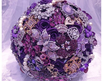 Purple Brooch Bouquet. FULL PRICE Rich Classic Bridals Purple Silver Gold Champagne Pearl Crystal Wedding Broach Bouquet