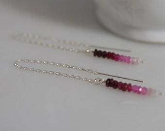 Sterling Silver Ombre Ruby earrings