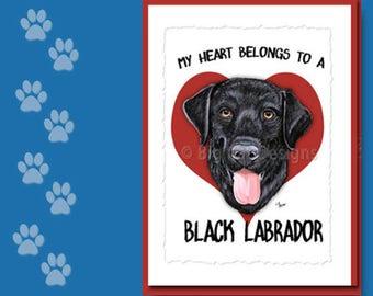 BLACK LAB CARD, Black Lab Greeting Card, Black Labrador Notecard,  Black Lab Birthday Card