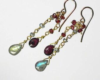 Labradorite Garnet Earrings Labradorite Earrings Gemstone Dangle Earrings Gold Filled Gift For Her
