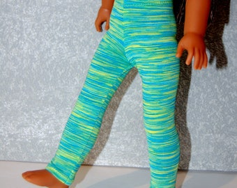 Leggings handmade for 14.5 inch Wellie Wishers tkct1134 yellow-blue-green stripes READY TO SHIP