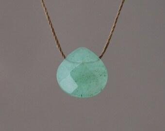 Green Aventurine Stone Silk String NECKLACE or BRACELET