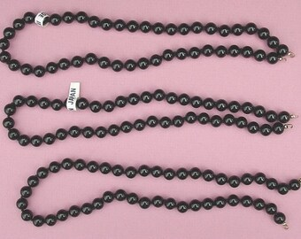 3 Black Glass Bead Strands.....Made In Japan
