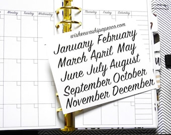 Calendar Month Stickers - Monthly View Stickers - Calendar Stickers - Monthly Stickers - Personal Planner Stickers