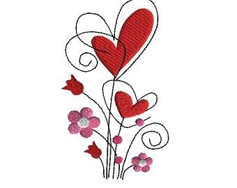 Valentine Stems Machine Embroidery Design-INSTANT DOWNLOAD