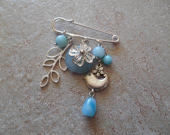 Silver brooch pin llops , charms pendant bird / leaf/ flower