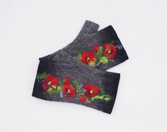 Felted Fingerless Gloves Fingerless Mittens Arm warmers Wristlets Merino Wool Black gray Red poppies