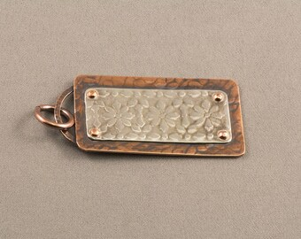 Mixed Metal Pendant Necklace, Sterling Silver Pendant, Copper Pendant, Floral Pendant, Patterned Pendant, Textured Pendant, Riveted Pendant,