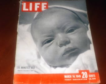 Mid-century (March 14, 1949) LIFE Magazine. Dorothy McGuire's baby, Topo Swope, on cover.  Lots of vintage ads.
