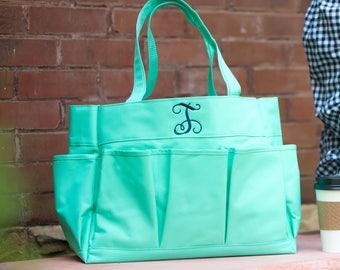 Mint Carry All Organizer Caddy-Organizer Tote-Nurse Bag-Teacher Bag-Toy Bag-Shower Caddy-Includes Monogram