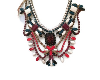 SPICY MARSALA marsala, red, cream anmd teal green hand painted rhinestone statement bib necklace