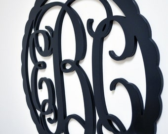 """18"""" Inch PAINTED Wooden Vine Connected Monogram with border, Letter Monogram"""