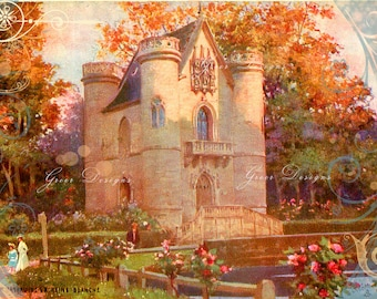 Chantilly Chateau Castle Fairy Tale Victorian Scrolls Ephemera French Postcard Vintage Scrapbooking Instant Digital Download Altered Art