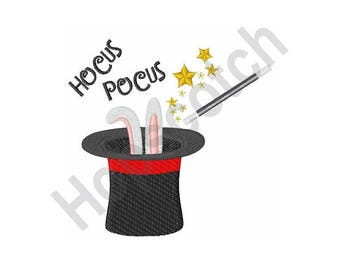 Magician Rabbit Hat - Machine Embroidery Design, Hocus Pocus