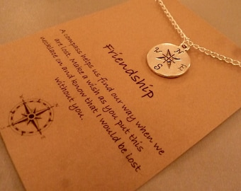 Compass Charm Necklace: Silver Tone Friendship Compass Necklace, Lost Without You, Best Friends, Friendship Necklace