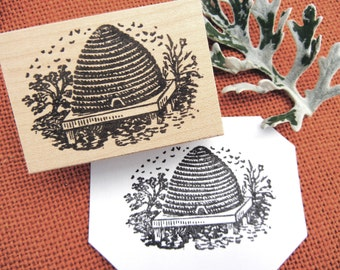 Bee Hive Rubber Stamp -  Handmade by BlossomStamps
