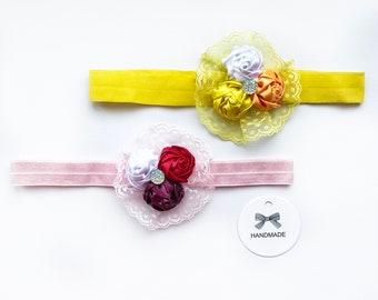 Hair band, bandage with roses and lace, bandage with flowers and lace