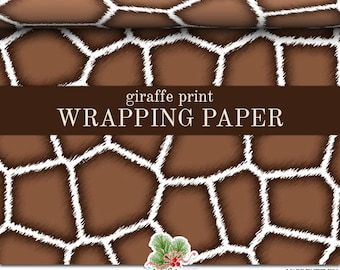 Giraffe Print Wrapping Paper   Custom Brown And White Giraffe Print Gift Wrap Paper  Roll 9 feet or 18 feet  Great For Any Occasion.