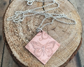 Butterfly Necklace, Copper and Sterling Silver Etched Butterfly Necklace