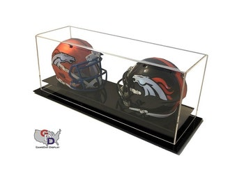 Acrylic Desk Counter or Table Top Double Mini Helmet Display Case by GameDay Display