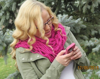 Home Made Pink Arm Knit Scarf