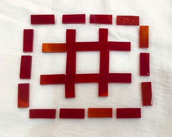 BORDERS - Cherry Red Wispy Stained Glass Mosaic Tile J6