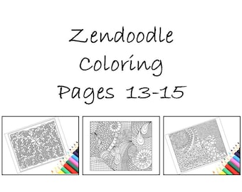 Zentangle Inspired Coloring Patterns, Printable Zentangle Inspired Pages 13-15