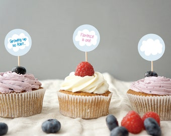 Personalised Hot Air Balloon Cupcake Topper Stickers / Napkin Seals / Envelope Stickers / Pass the Parcel / Food Labels