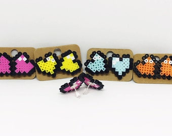 Pixel Heart stud earrings