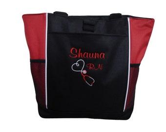 Tote Bag Personalized Nurse Student RN BSN CNA Rt Lvn lpn Nicu Msn Rt Cpnp Cardiac Respiratory Care er Dept  Nursing Caridiac Emergency
