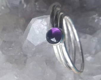 Silver Stacking Rings Set of 3. Silver Amethyst Rings. Thin Band Sterling Silver Amethyst Stacker Ring Set. Minimalist Jewelry,  US SIZE 7.5