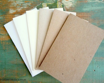 """100 Rustic Place Cards/Escort Cards: Recycled placecards, Tent cards, 2.5""""x4"""", 2.5""""x3.5"""", 2""""x3.5"""", kraft brown, light brown, white, natural"""