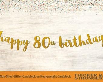 Happy 80th Birthday Banner, Script Font - 80th Birthday Party, Birthday Banner, Happy Birthday, 80th Birthday Banner