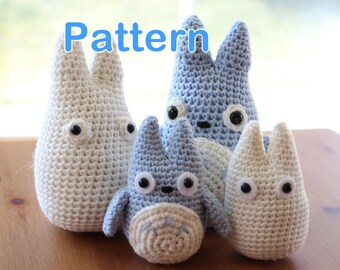 Crochet Amigurumi Cute Totoro (Chu and Chibi) 2 Sizes 4 PDF Patterns in One