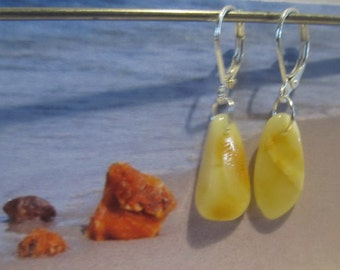 Amber Earrings 1.3 gr. drop beads Natural Baltic opaque yellow egg yolk butterscotch silver color french clasp raw stones chandelier