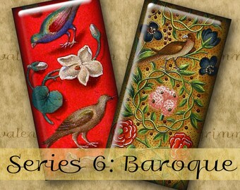 1x2 inch BAROQUE ILLUMINATIONS Series No. 6 Digital Printable Domino collage sheet for Pendants Crafts