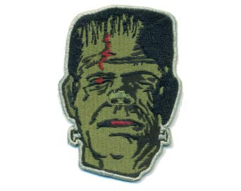 Frankenstein Monster Iron-On Patch SpookShow Spook Show Horror Mask Punk Gothic Bride Creature B-Movie Science Fiction Sci-fi Horror Gore