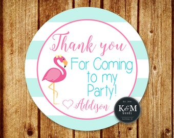 Flamingo Birthday Party Favor Tag / Flamingo Party Thank You Tag / Digital Printable File