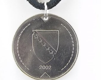 Bosnian Coin Necklace, Mens Necklace, Womens Necklace, Coin Pendant, Leather Cord, Birth Year, 2002