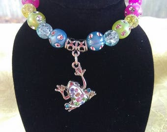 colorful frog charm bracelet,