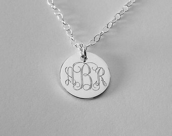 Engraved Monogram Jewelry Personalized Sterling Silver Round Monogram Necklace Small - Hand Engraved