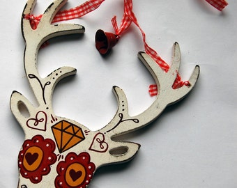 Mexican Sugar Skull Stag Day of the Dead Christmas Decoration Ornament Tattoo deer