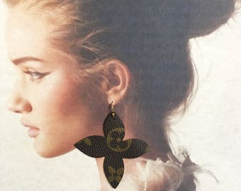 Authentic Louis Vuitton Clover Earrings With 14k Gold Plated Hooks. Repurposed,Upcycle,Recycle,Handmade Louis Vuitton