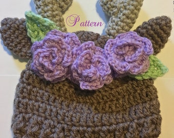 Wildflower deer hat crochet pattern