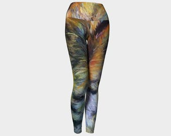 "Adorable Colorful women's leggings from PastelArt ""Catnip"" Yoga tights gift"