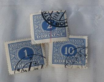 3 Czech Doplatne Stamps, Blue and White 1928 1, 2, and 10 Korun Czechoslovakia