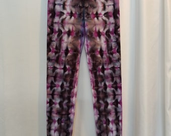 Tie Dye Leggings - Size Small - Ice Dye Yoga Pants - Purple Tie Dye