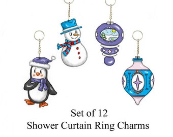 Penguin, Snowman and Ornaments...Decorative Shower Curtain Ring Charms...Set of 12